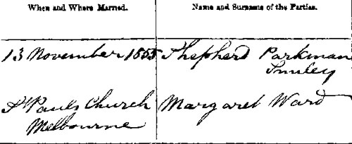 Extract from marriage certificate of Shepherd Smiley and Margaret Ward